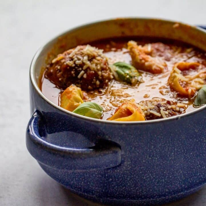 Tortellini Soup with Meatballs and Spinach