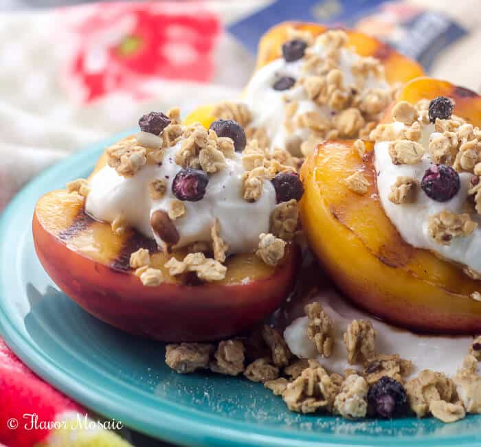Grilled Peaches with Yogurt and Granola