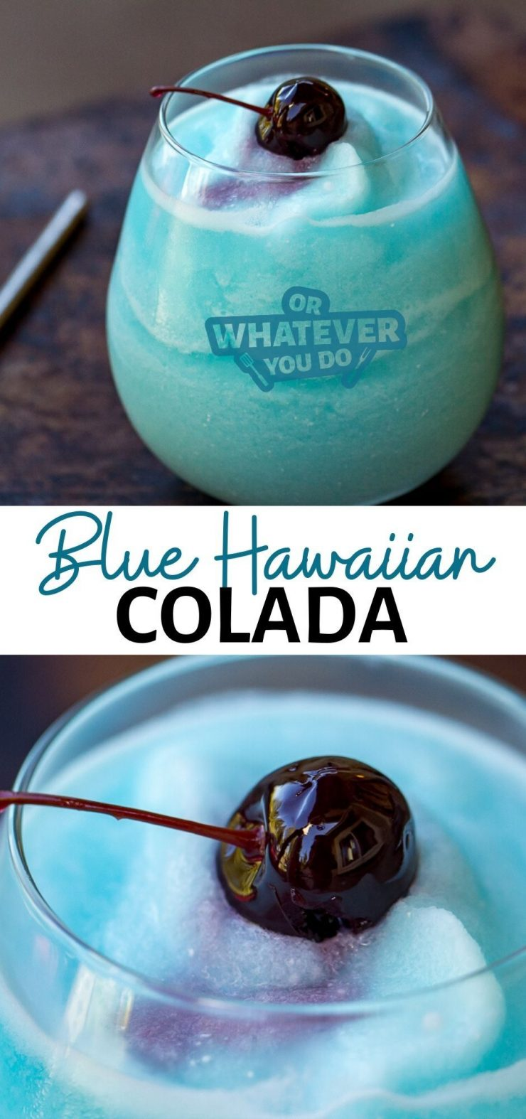 Blue Hawaiian Colada with text on the image that says the title