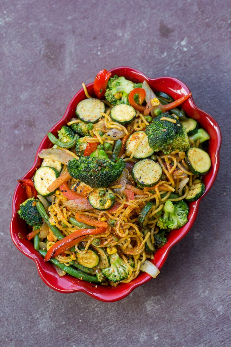 Vegetable Yakisoba in a red bowl