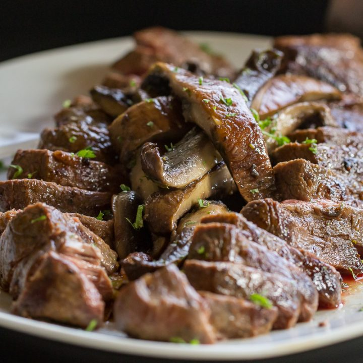 Blackstone Sirloin Cap Steak with Marinated Mushrooms