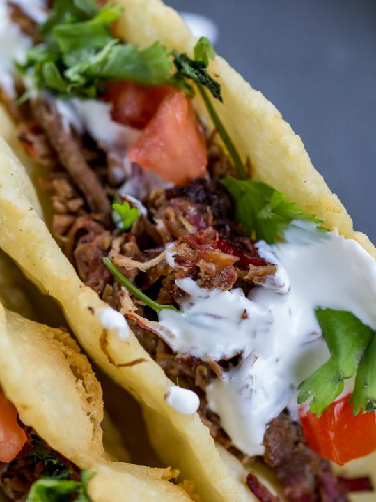 Tequila Lime Smoked Shredded Beef Tacos