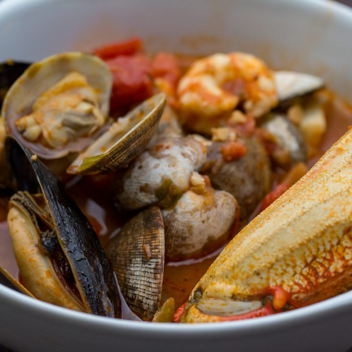 Traeger Northwest Cioppino in a white bowl