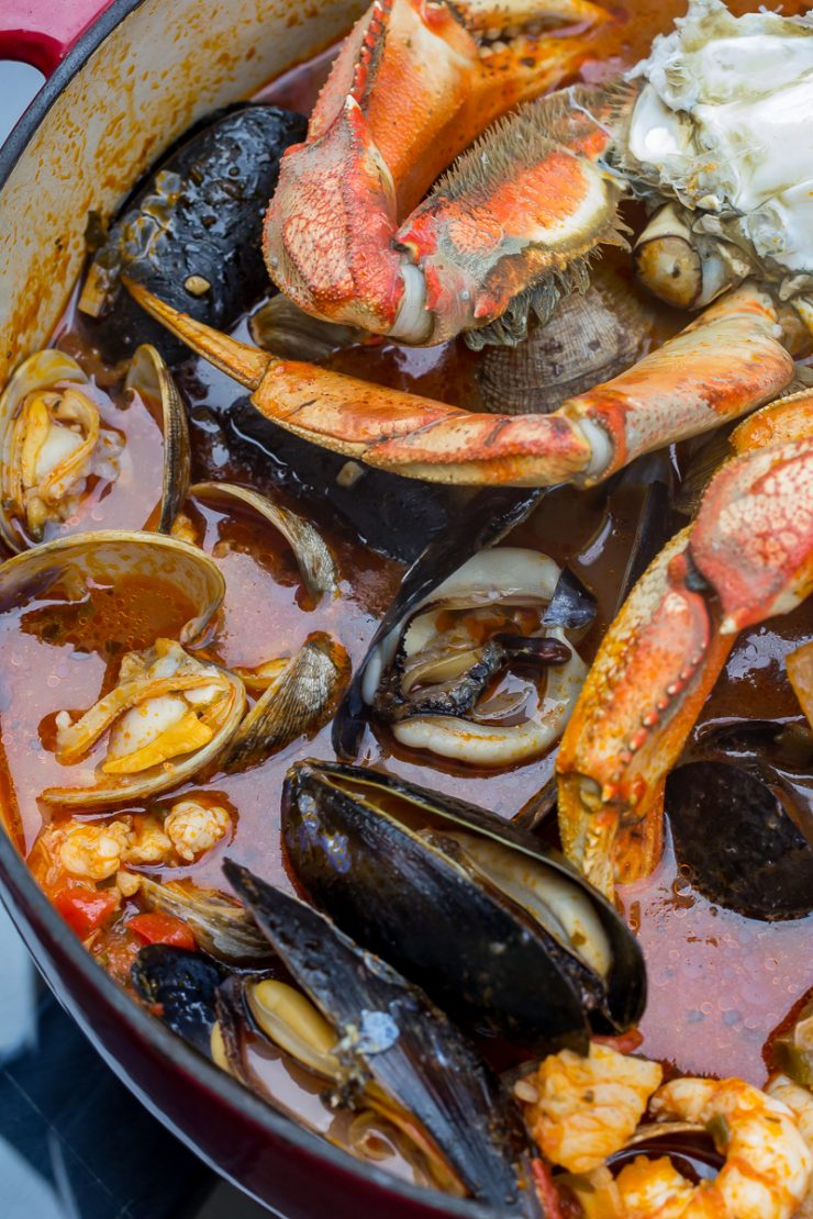 Traeger Pacific Northwest Cioppino view from the top in a Dutch Oven