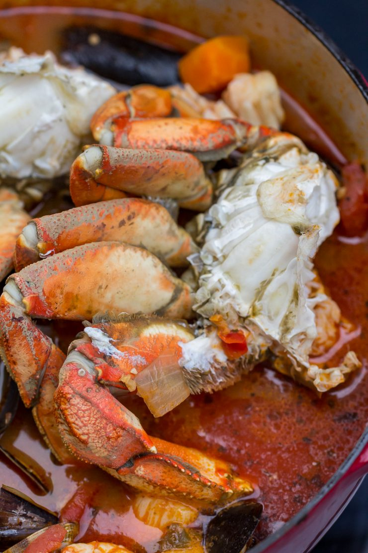 Dungeness crab in a tomato broth