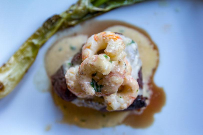 Filet Mignon with Whiskey Garlic Shrimp Sauce