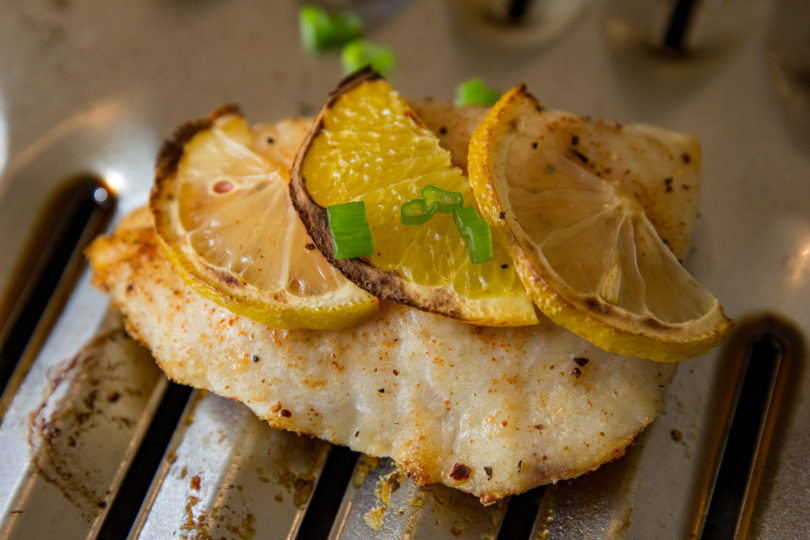 Broiled Lingcod with lemon