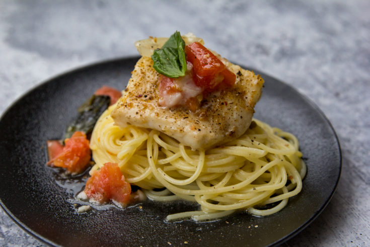 Pellet Grill Skillet Lingcod with Wine and Garlic