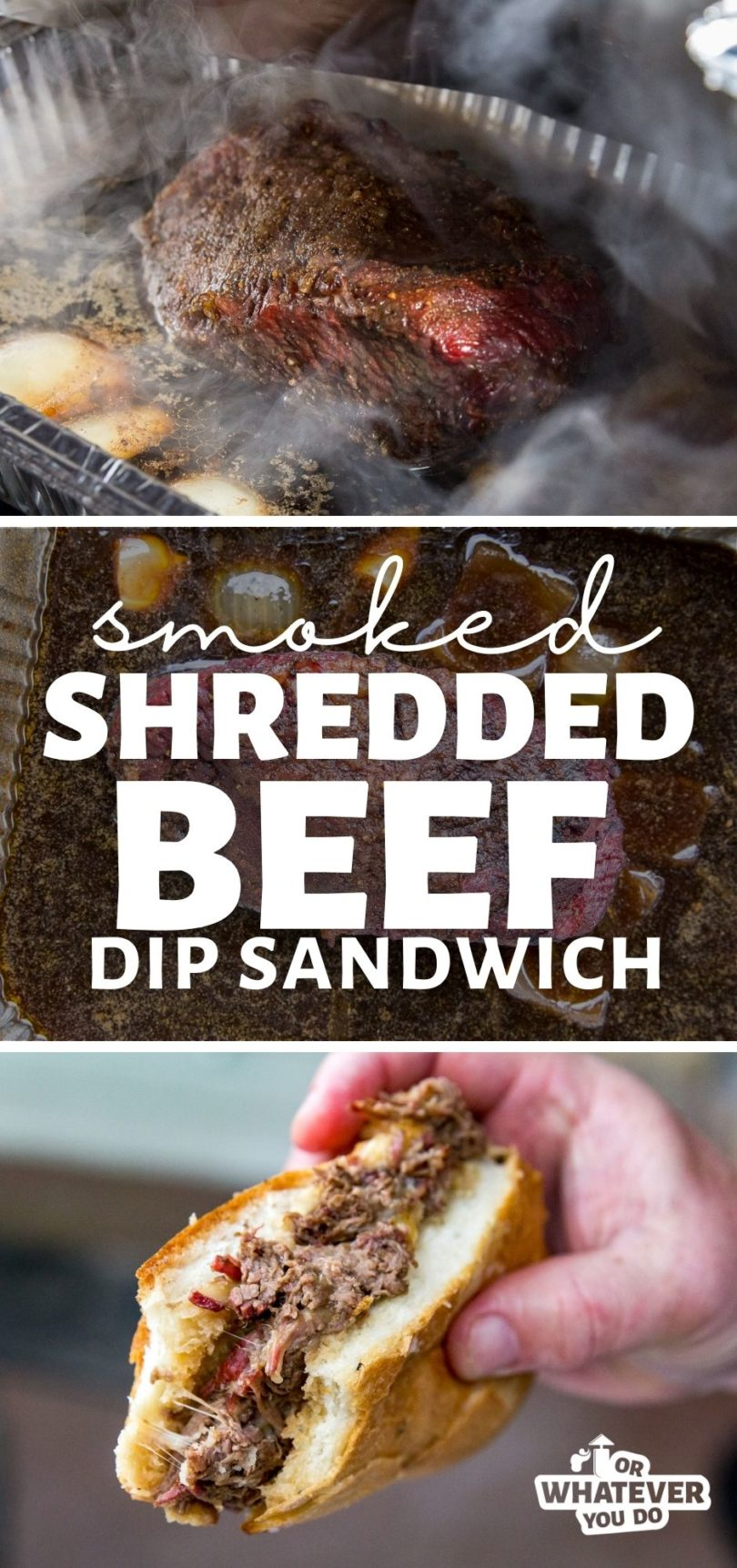Smoked Shredded Beef Dip Sandwich