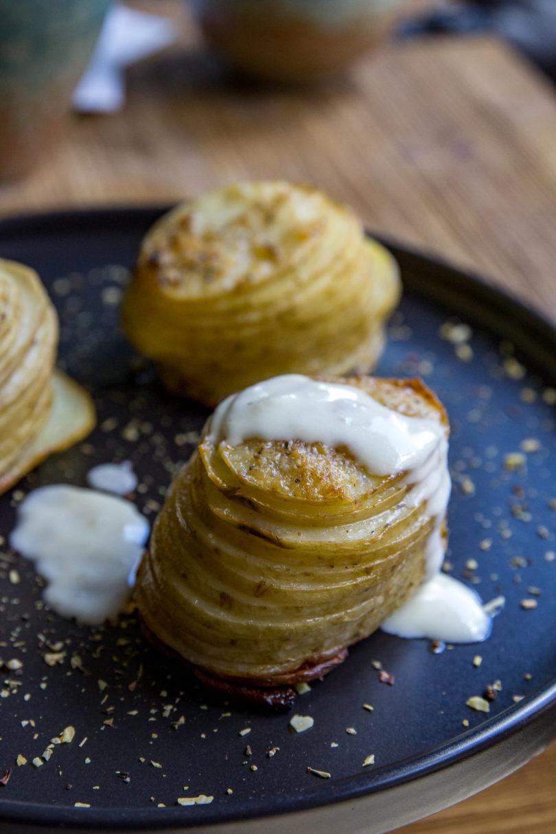 Smoked Potato Stacks with Parmesan Cream Sauce